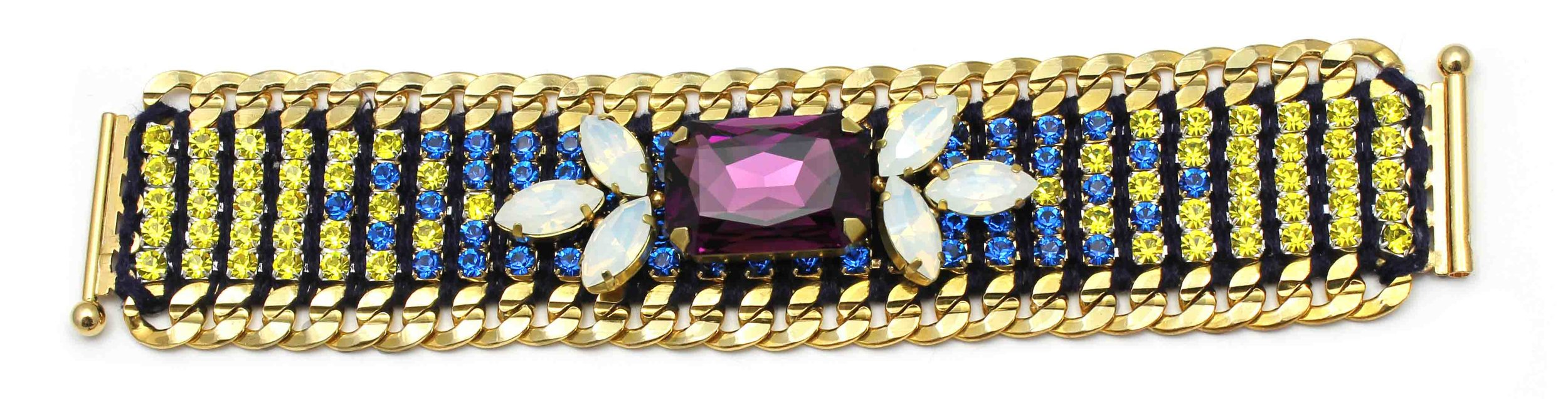 146BY Tropicana Bright 2-Tone Crystal Bracelet - BlueYellow.jpg