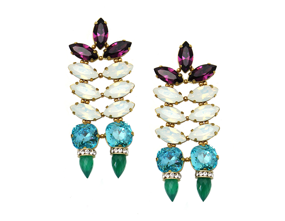 161MG Hyacinth Double Spike Earrings - MultiGreenOnyx.jpg