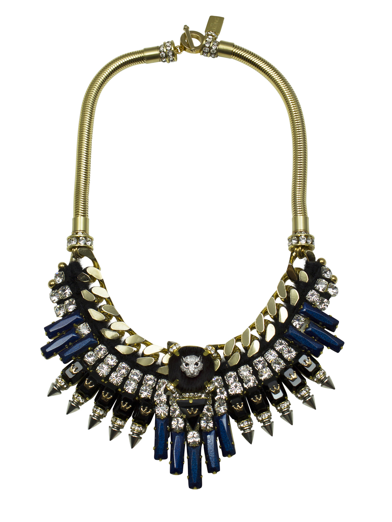 214N Crystal, Black & Blue Spiked Military Necklace.jpg