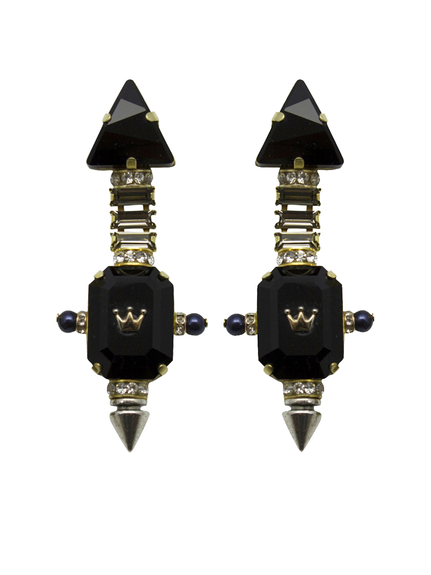 232E Black Triangle Aviator Spiked Drop Earrings.jpg