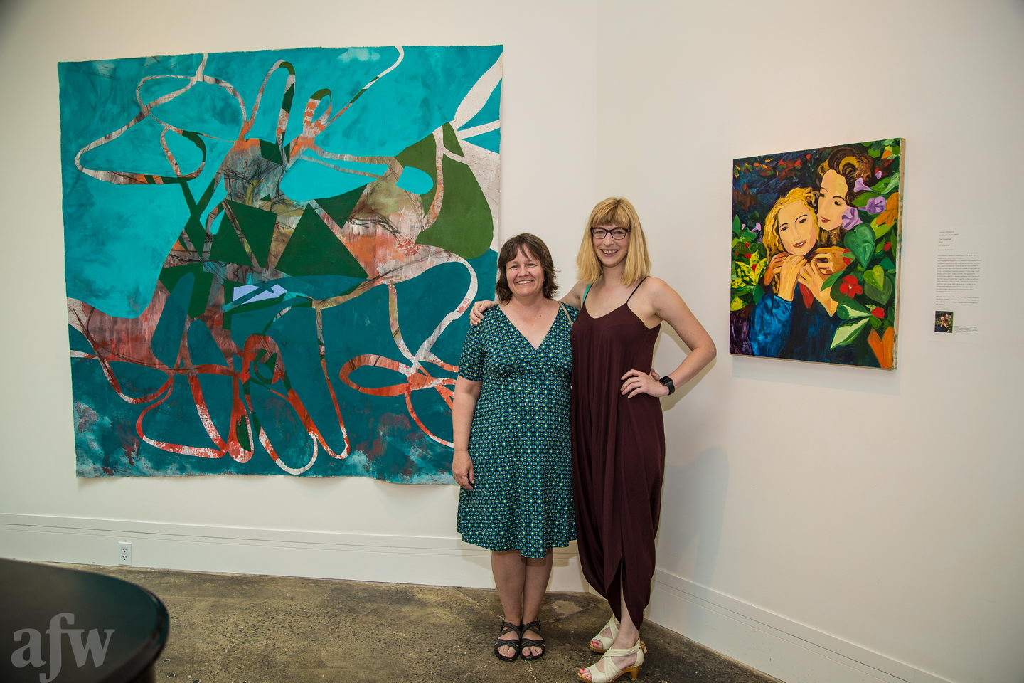 Pictured here with artist Lauren Whearty in front of our works at the opening.