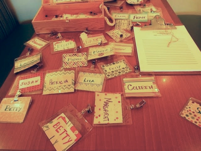 Name Tags for Tues. AM participants and volunteers