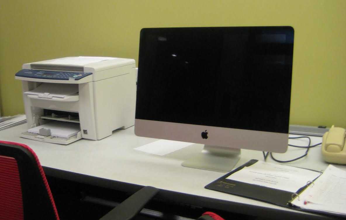 One of the computers in the Resident Computer Room