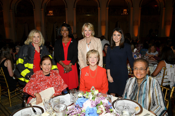 Congresswoman Carolyn B. Maloney, Cheryl Wills, Deborah Trudeau, Daniela Pierre Bravo, Muriel Fox, Linda A. Willett, and Congresswoman Eleanor Holmes Norton pose during The 9th Annual Elly Awards Hosted By The Women's Forum Of New York on June 17, 2019 in New York City.