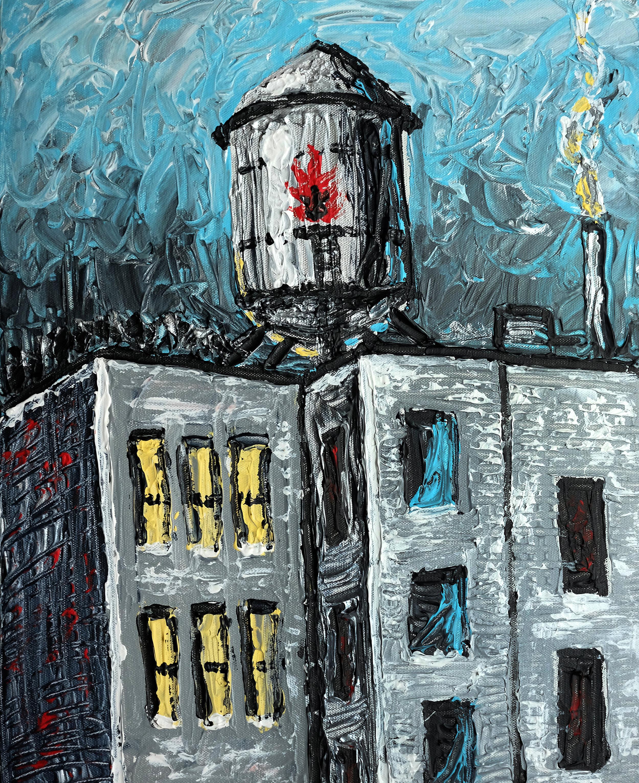 "OIL TOWER, 16x20"", Acrylics on Canvas"
