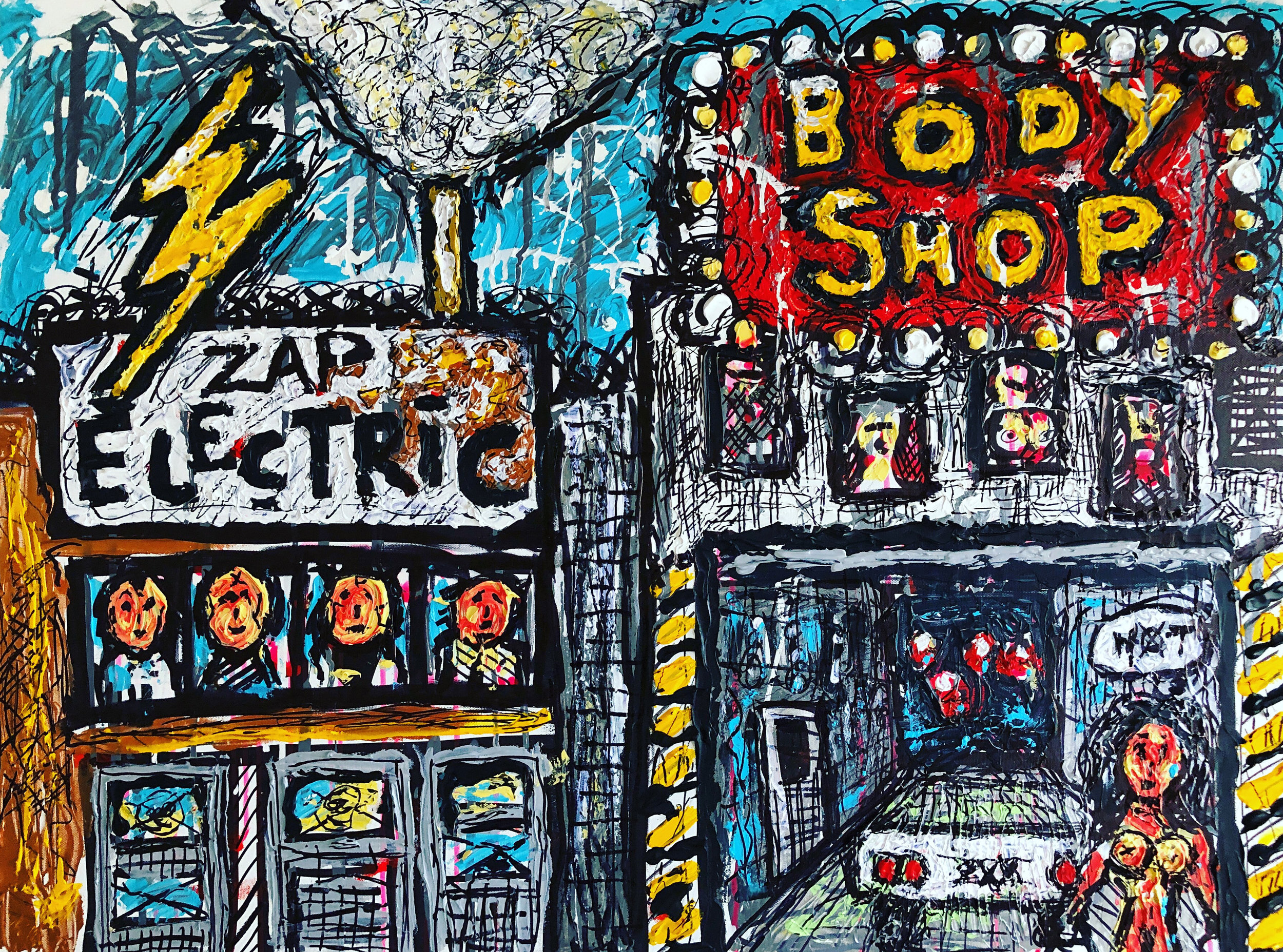 "BODY SHOP, 30x40"" Acrylics on Canvas"