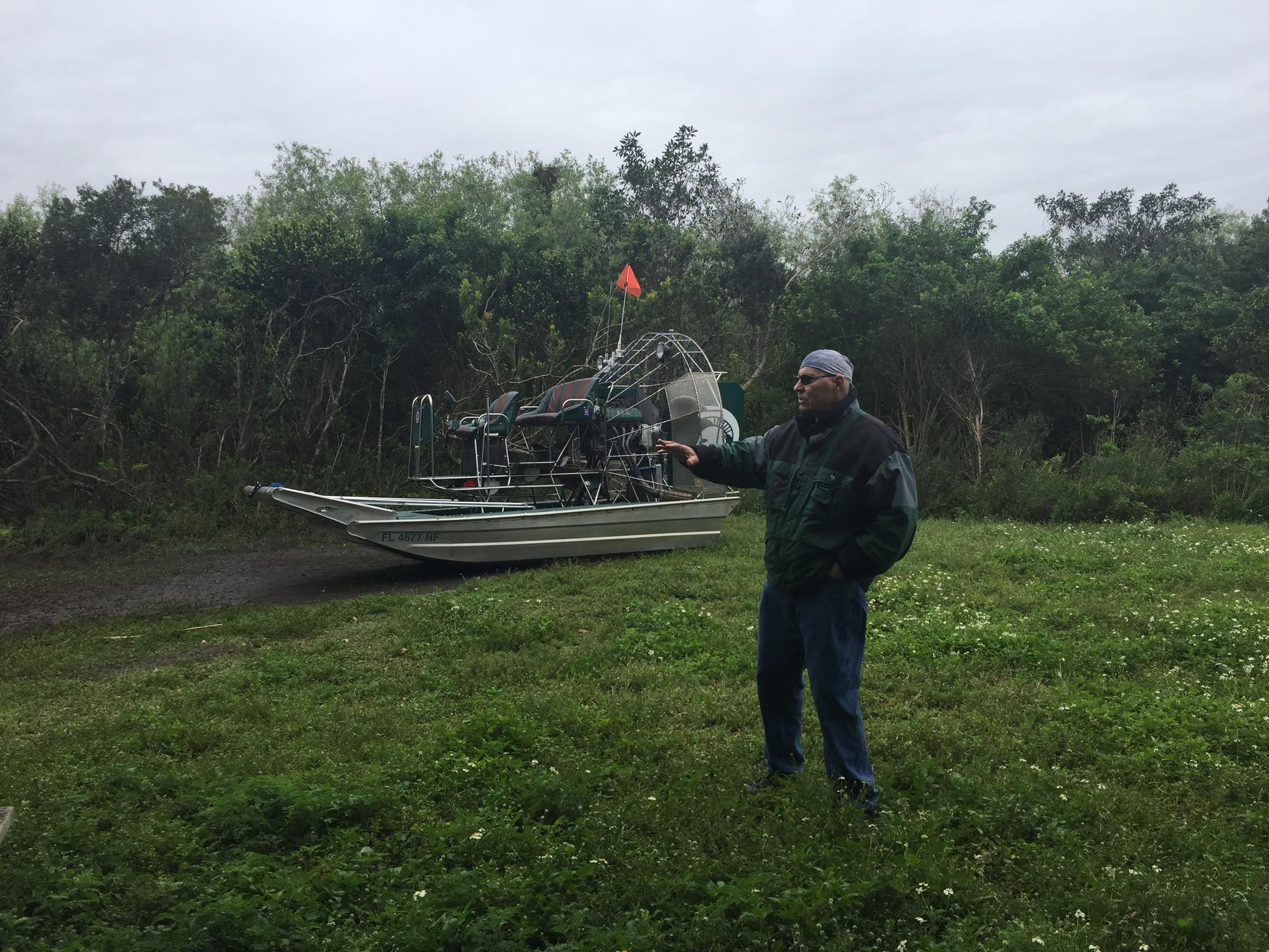 Carter Burrus explores the East Everglades Expansion Area. The park is phasing out private airboats here. Burrus and the Airboat Association of Florida hope to change the rules so future generations can still use private airboats. Photo by Topher Forhecz.  Link to post at WGCU .