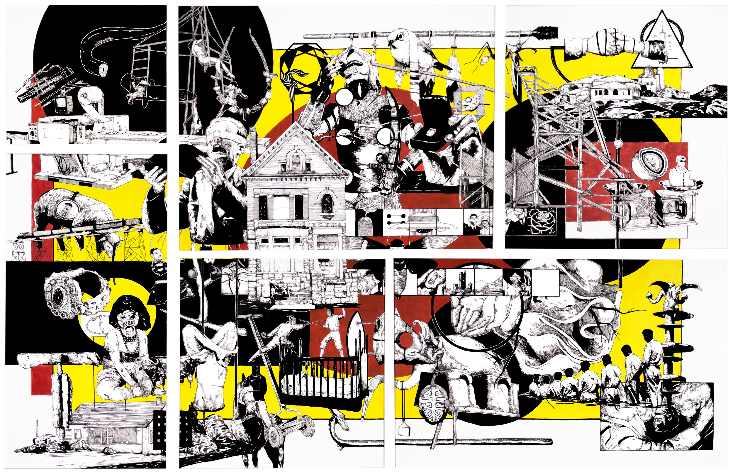 Lust, Crime & Holiness #30 , 2013 India ink on paper 72 x 108 inches