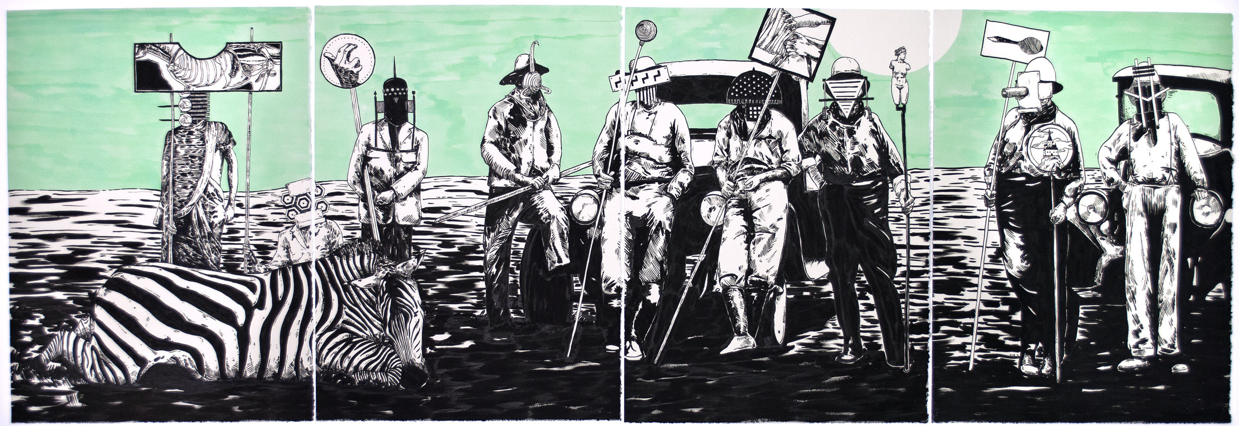 The Tide Has Turned #4 , 2013 India ink on paper 30 x 88 inches (quadriptych)