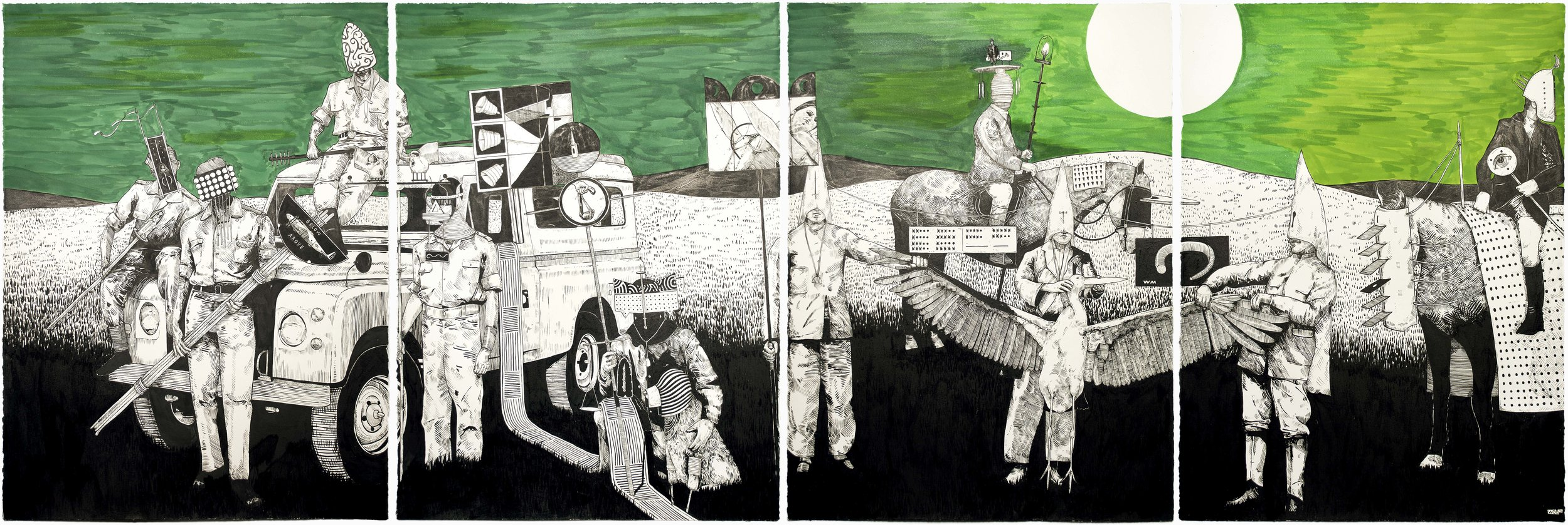 The Tide Has Turned #6 , 2014 India ink on paper 30 x 88 inches (quadriptych)