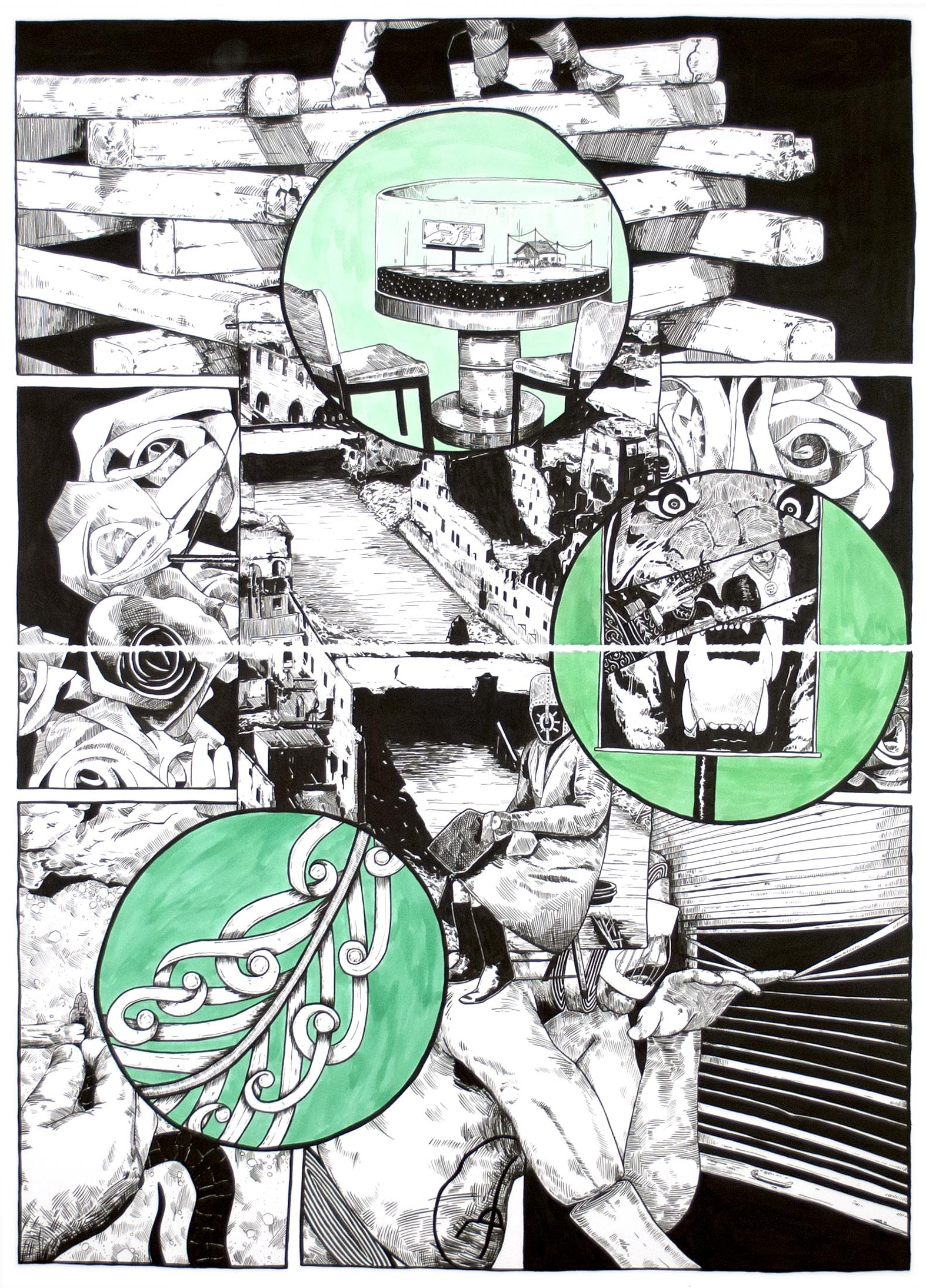 Lower Than the Lowest Animal #6 , 2014 India ink on paper 60 x 44 inches (diptych)