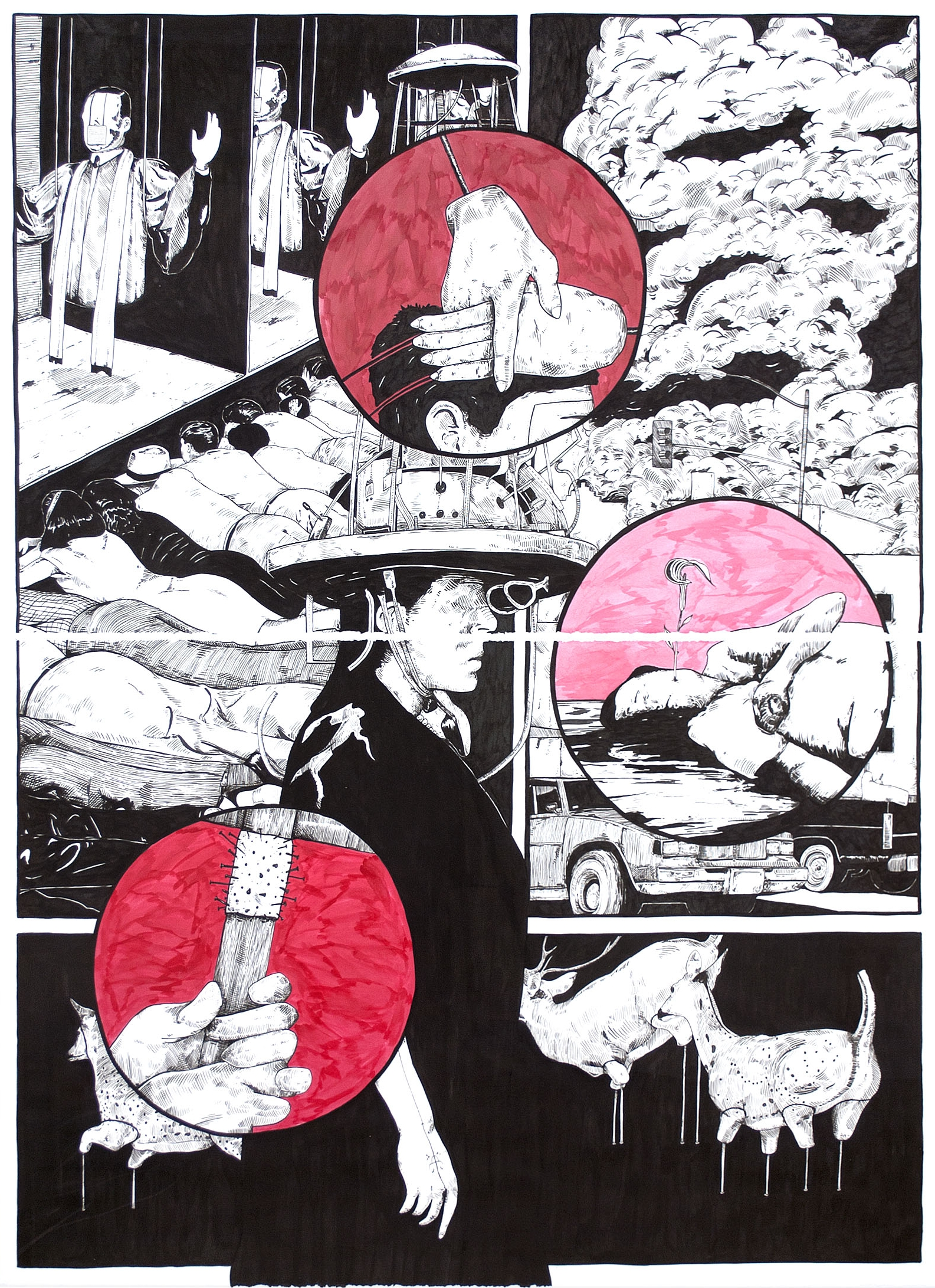 Lower Than the Lowest Animal #7 , 2014 India ink on paper 60 x 44 inches (diptych)