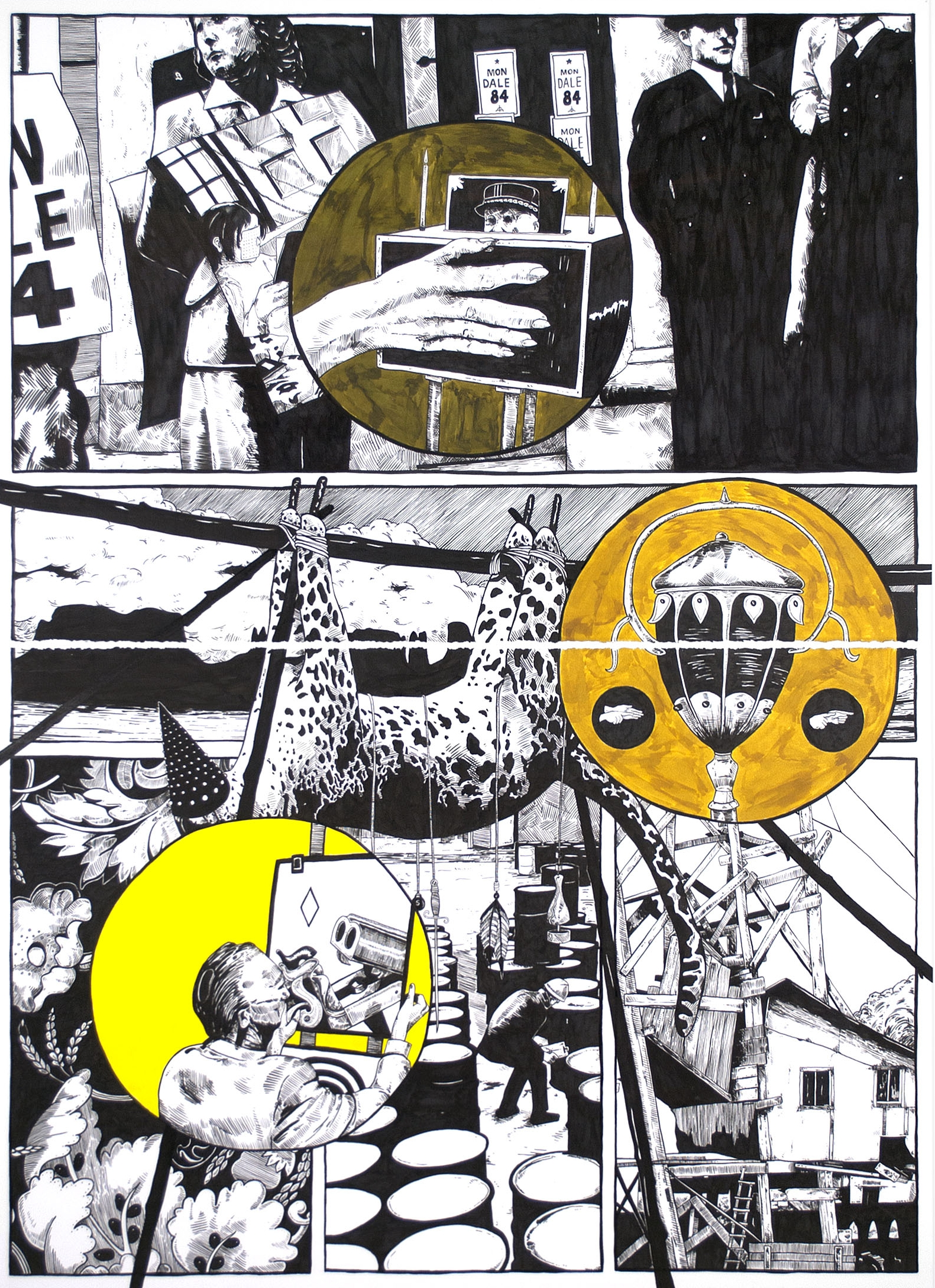 Lower Than the Lowest Animal #8 , 2014 India ink on paper 60 x 44 inches (diptych)