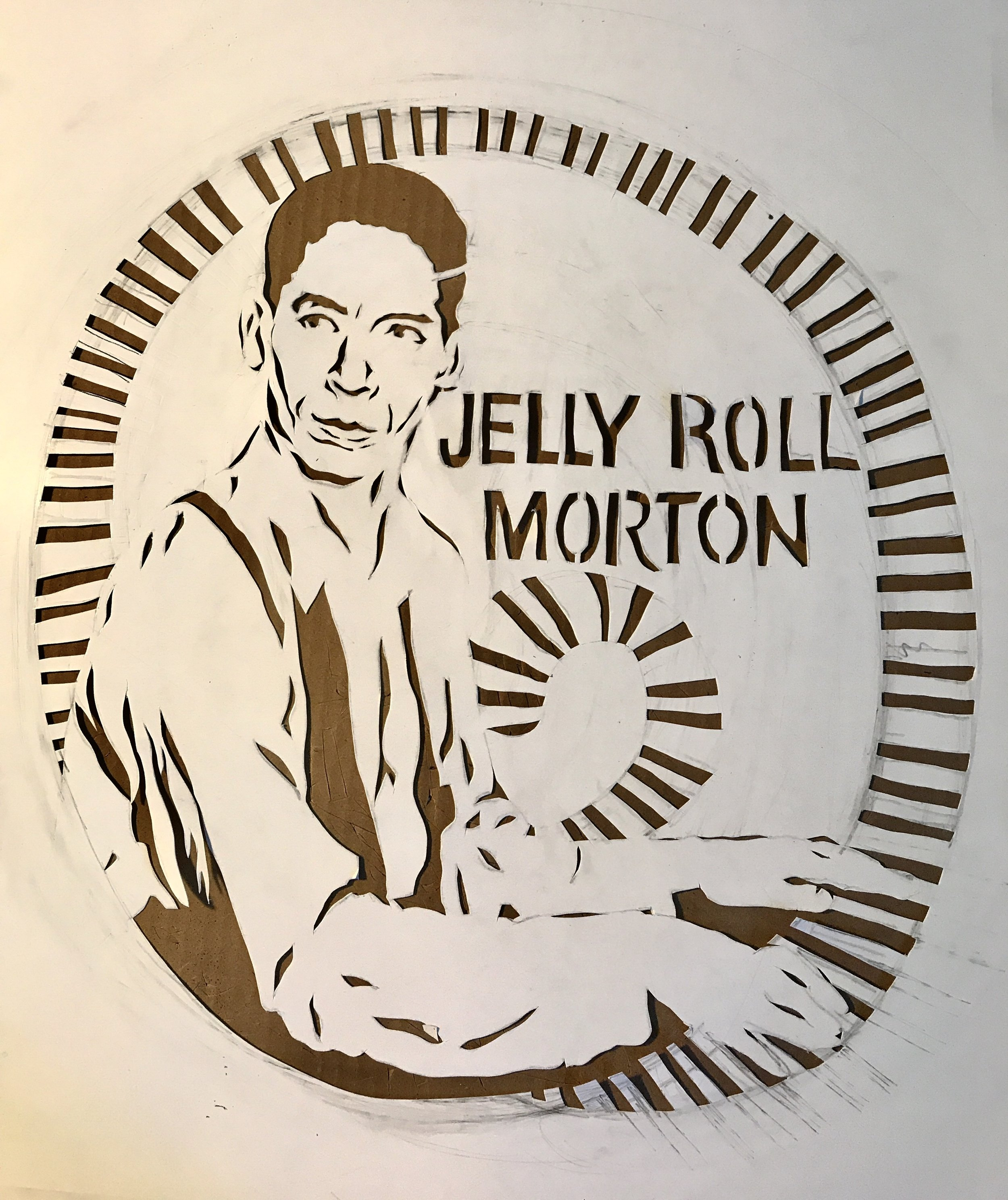 - Hand-cut stencil for the Jelly Roll Morton tee