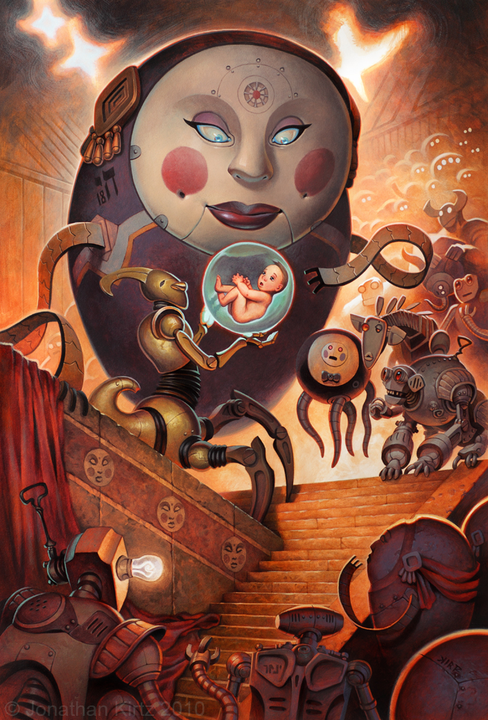 "In the Hall of the Egg Mother, Arcrylic on Illustration Board 20"" x 13"", 2010"