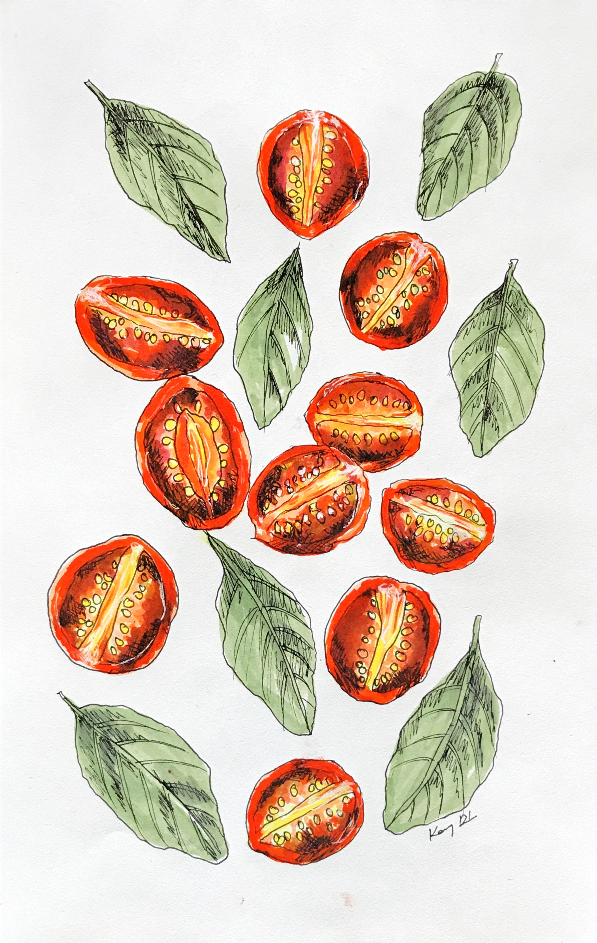 Roasted tomatoes with basil leaves