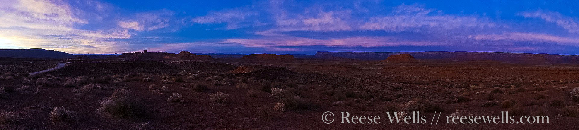 Panorama sunrise at Valley of the Gods.