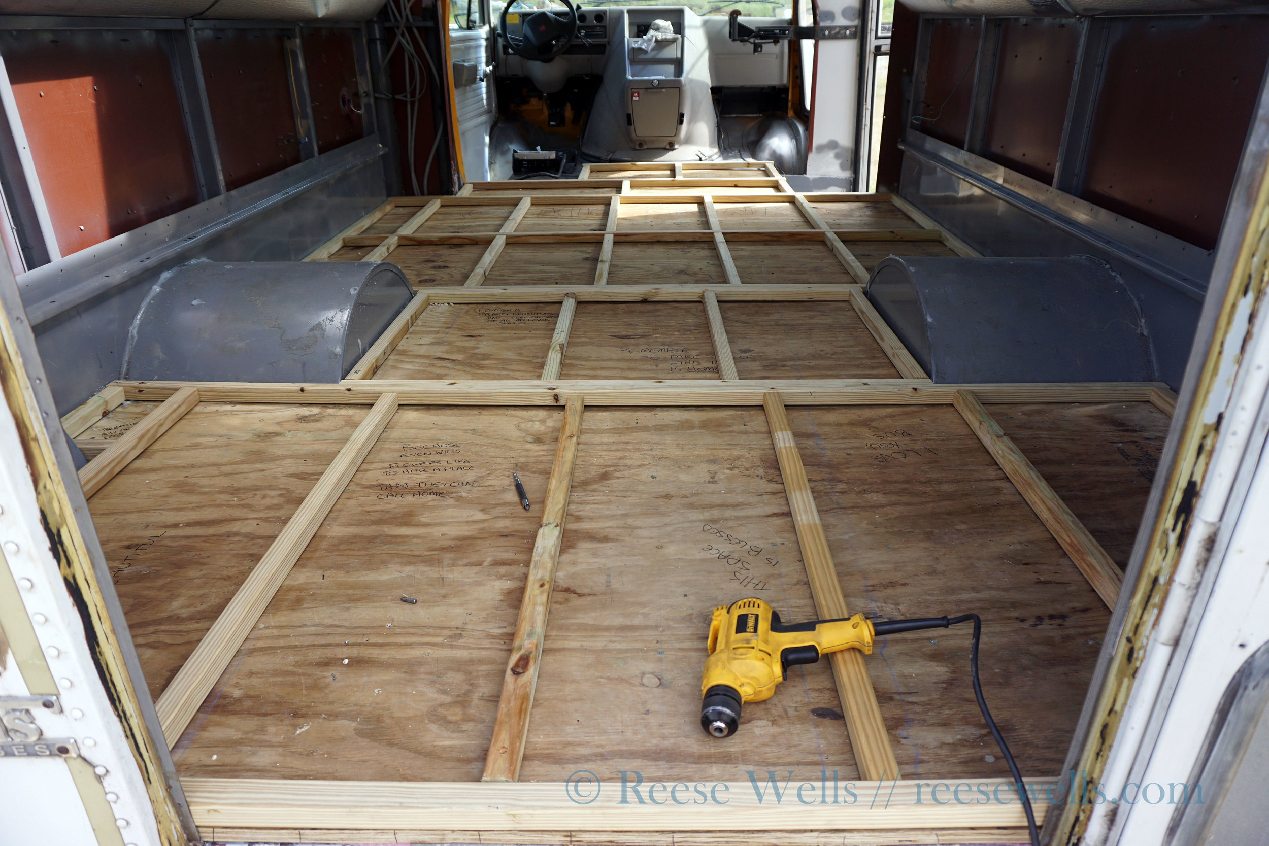 Framing out the insulation for the floor.