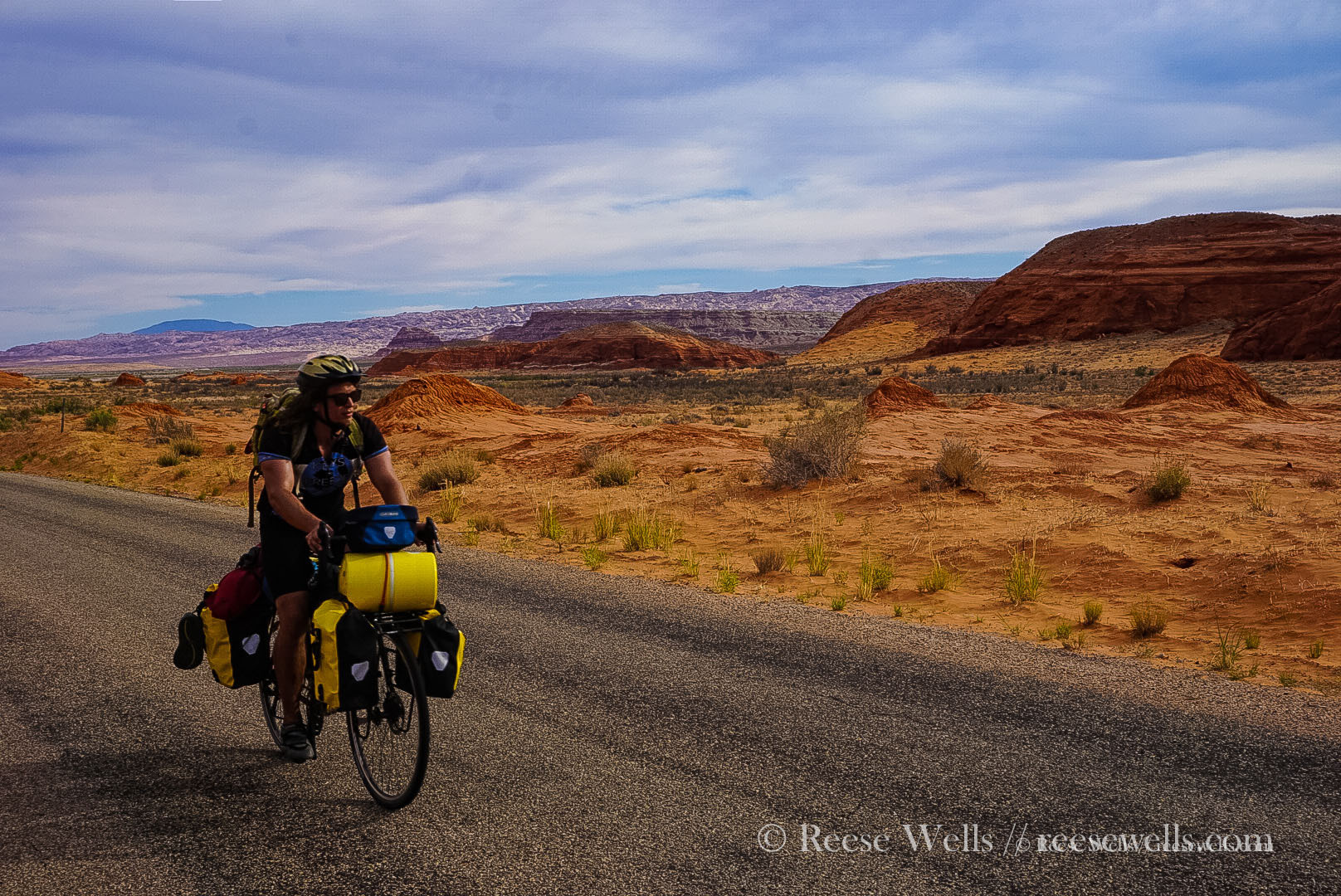 Desert descent into Bullfrog, Utah at the end of a long 100+ degree day.