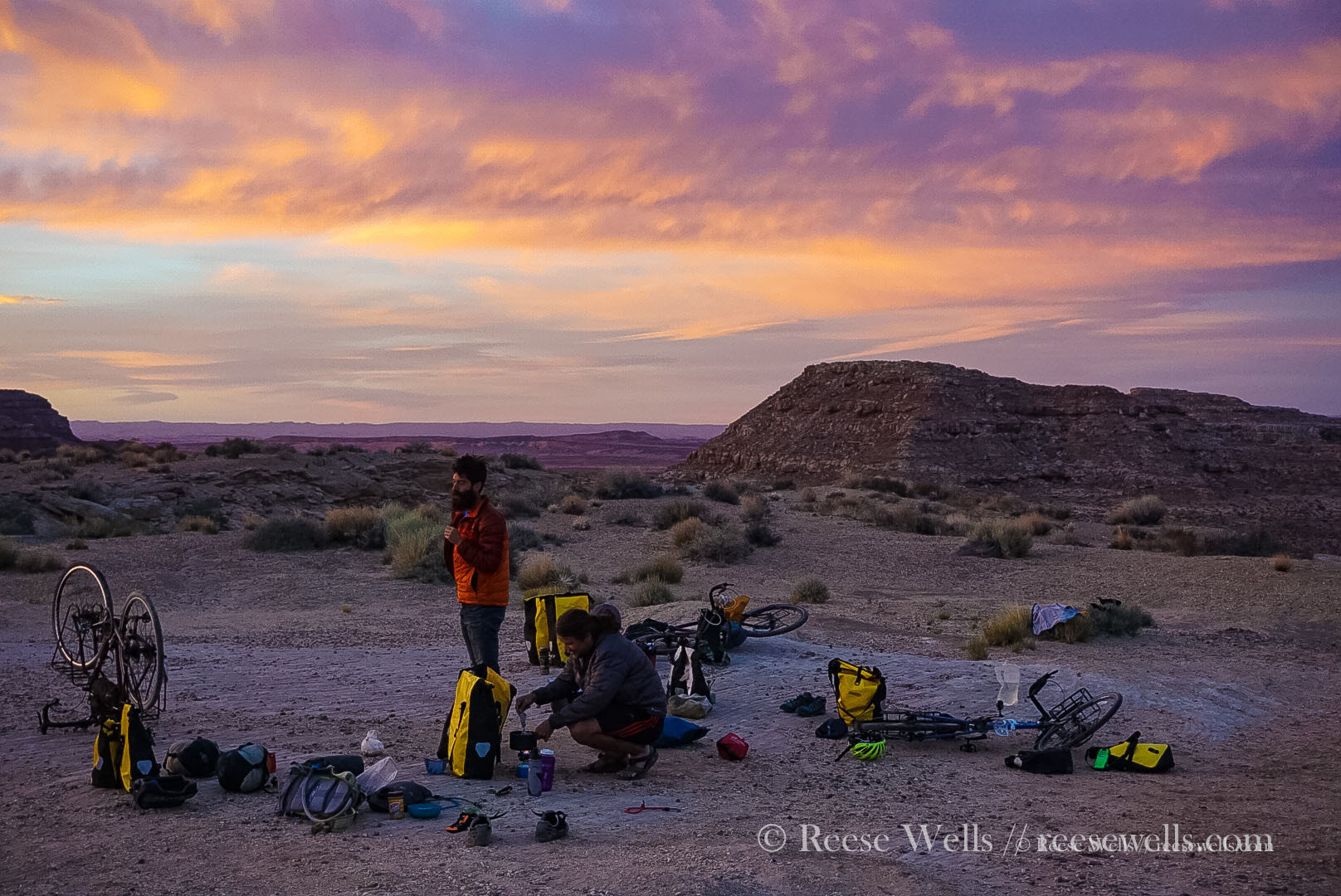 A beautiful sunset over an isolated campsite near Capitol Reef National Park, Utah.