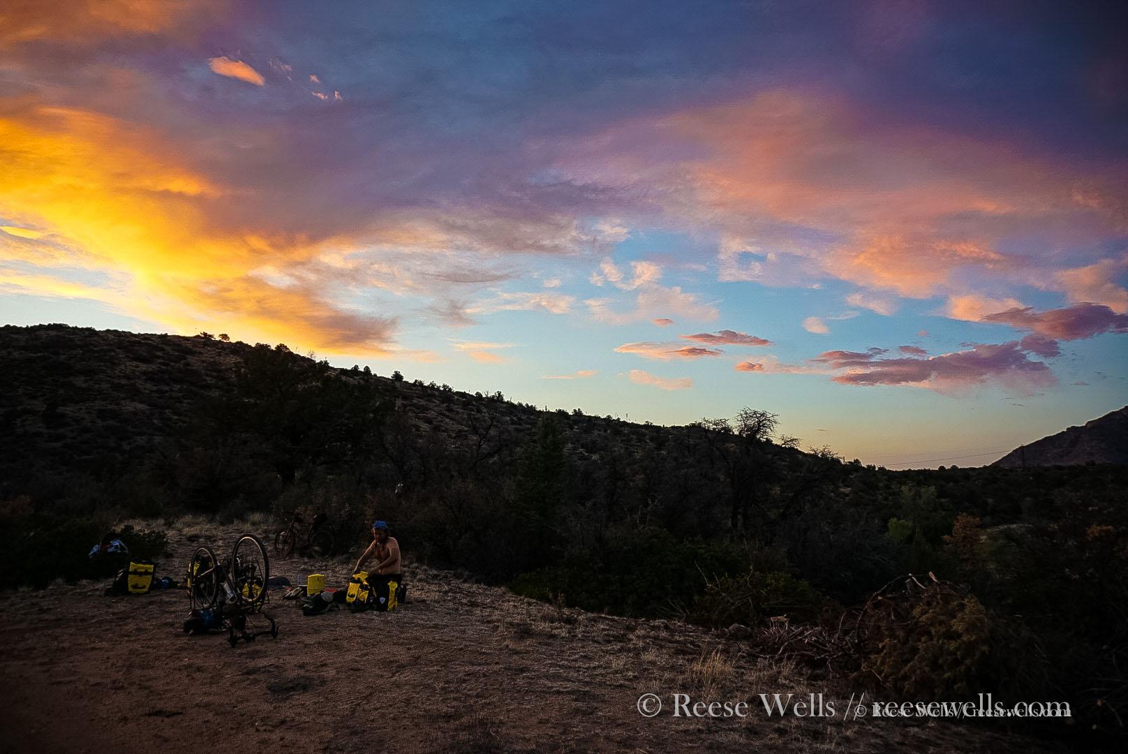 Camping outside of Prescott, Arizona. A wild sunset. No tent necessary here.