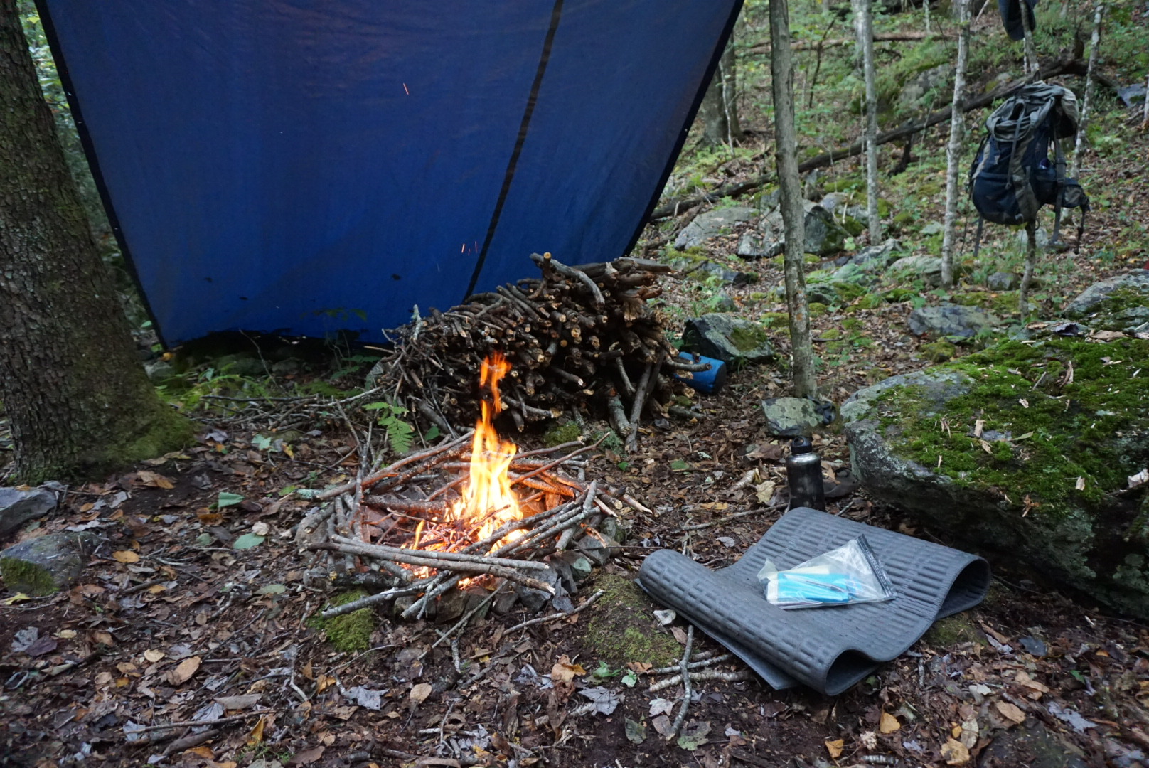My Death Lodge site, drying out the wet wood.