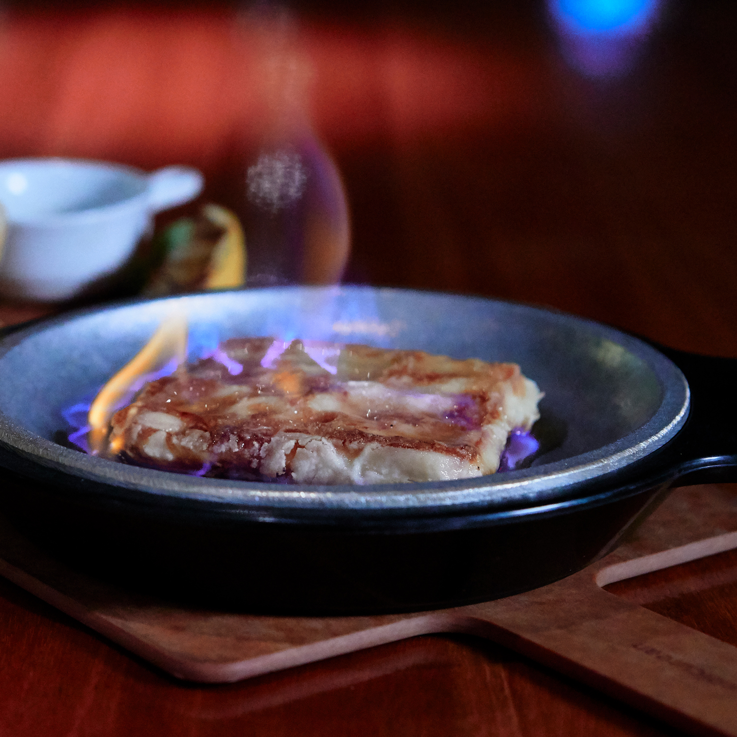 Saganaki with Chicken Skin Chips KETO Menu Prohibition Gastrohouse