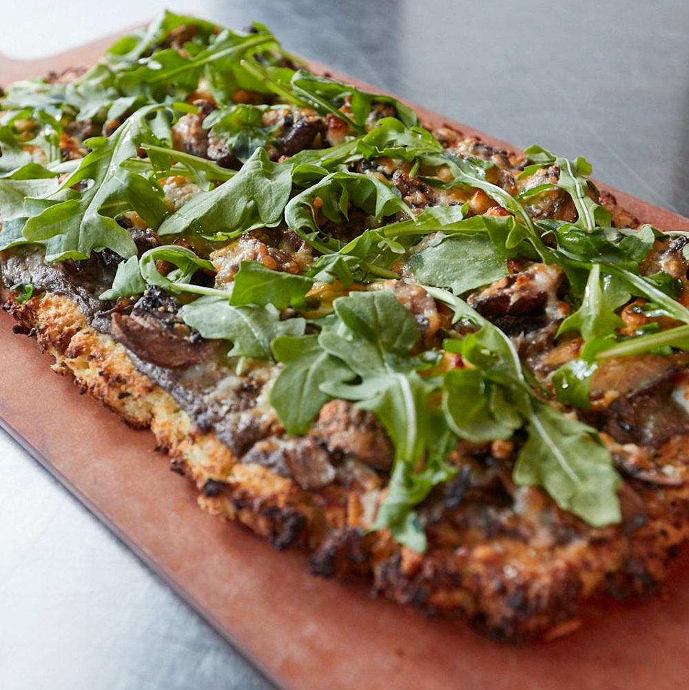 The Funghi Flatbread with Cauliflower Crust KETO Menu Prohibition Gastrohouse