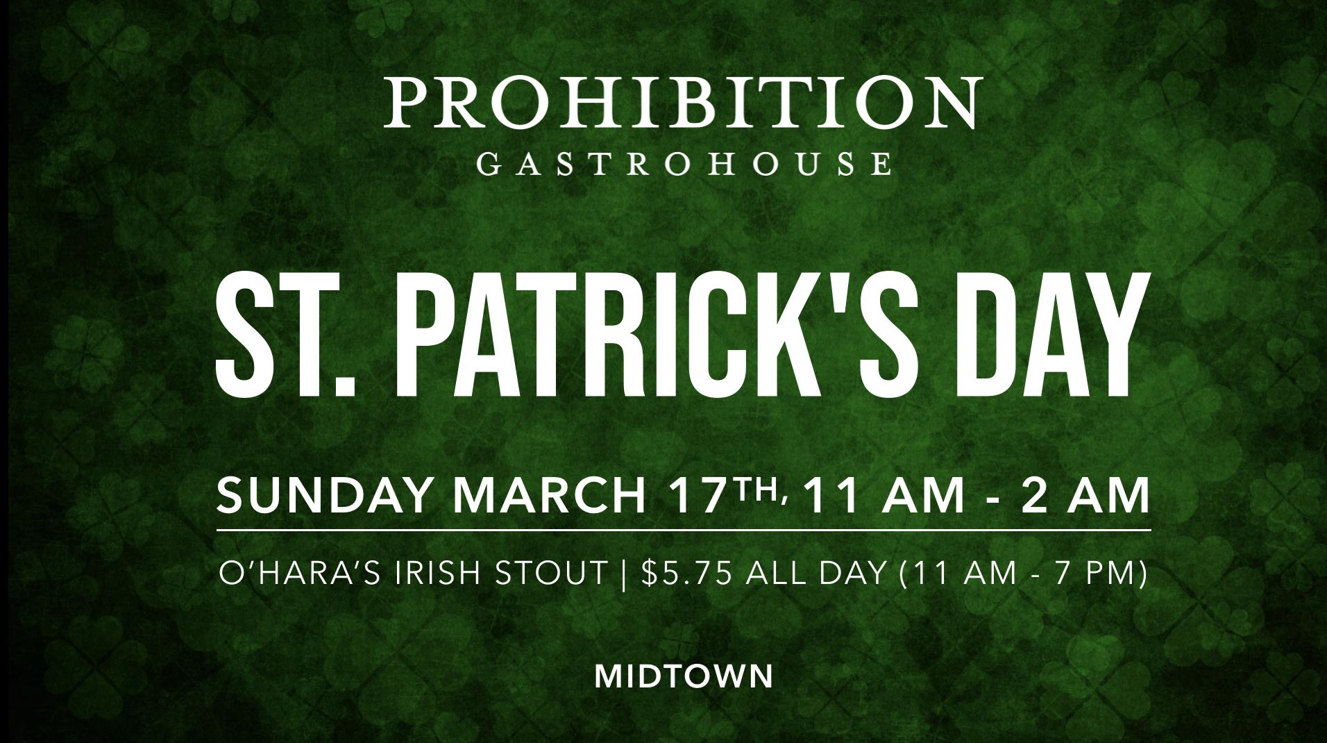 Prohibition Gastrohouse St. Patrick's Day 2019