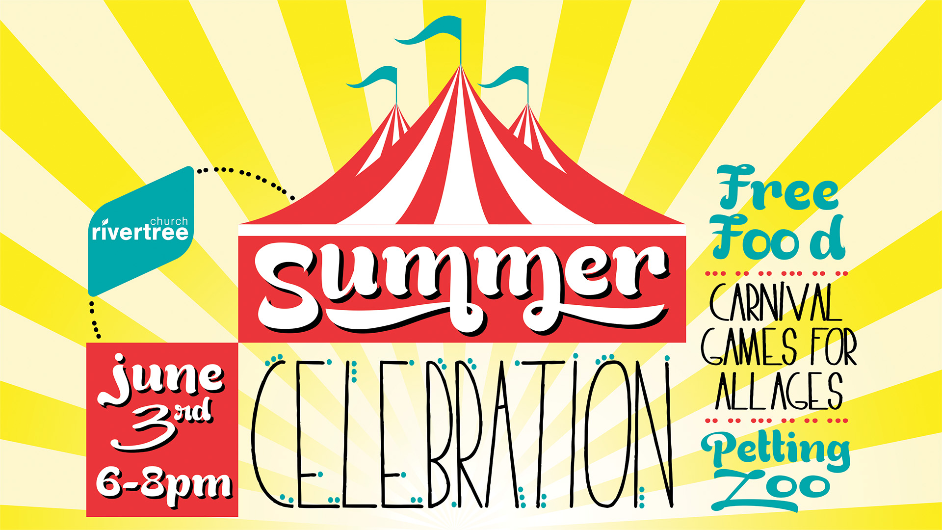 Come kick off summer with us at our Summer Celebration on Friday, June 3rd from 6-8pm.  We will have yummy, free food and fun, carnival games for all ages.  Bring chairs and blankets for your family.  Please sign up in the lobby Sunday if you can help or email Priscilla Ballard at priscilla@myrivertree.org or Kasi Duckett at kasi@myrivertree.org.