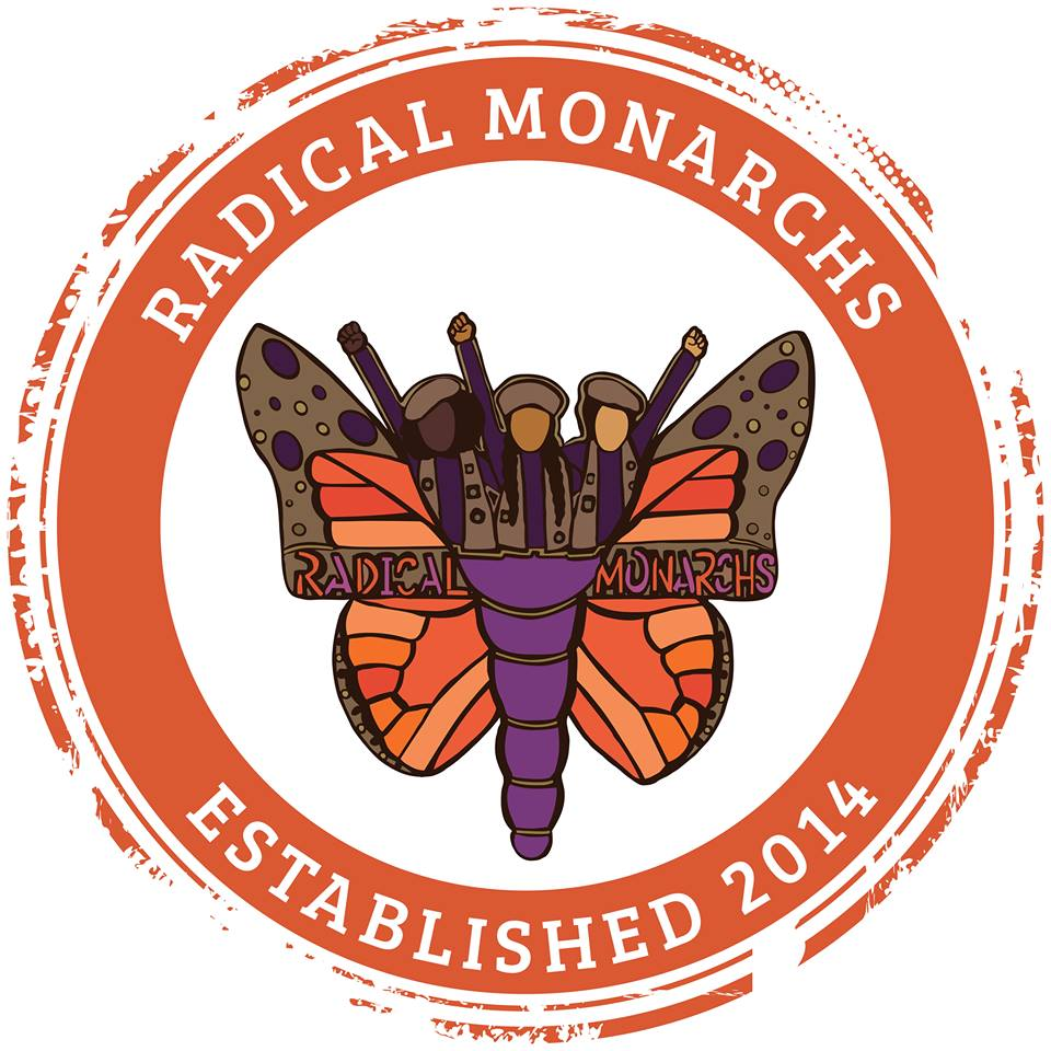 "Image is Radical Monarchs logo, which consists of a large monarch butterfly with three young girls, wearing berets, coming out of the butterfly. The text reads ""Radical Monarchs Est. 2014."" Image via  Radical Monarchs Facebook ."