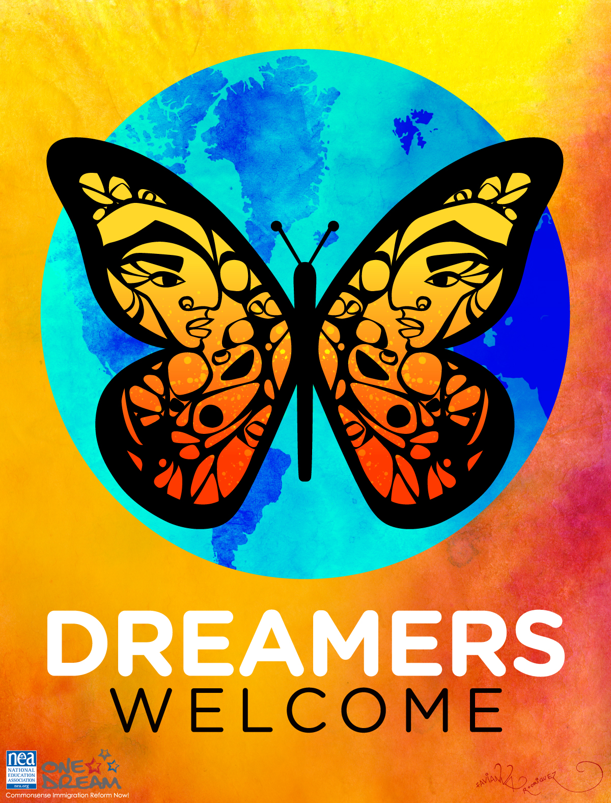 """Poster is a colorful butterfly with people's faces in the wings, covering the earth. Underneath it reads """"Dreamers Welcome."""" Image via  NEA.org"""