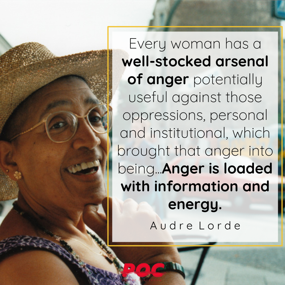"A photo of Audre Lorde smiling and wearing a straw hat. To her right is a white text box outlined in yellow with the quote ""Every woman has a well-stocked arsenal of anger potentially useful against those oppressions, personal and institutional, which brought that anger into being...Anger is loaded with information and energy."" the words Audre Lorde are underneath. The red POC logo is at the bottom of the image."