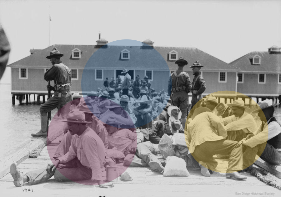 Black and white image of refugees sitting on a dock at Angel Island, with three guards watching over them. Three translucent, colored circles are placed on top of the image. Original image via  NPR .