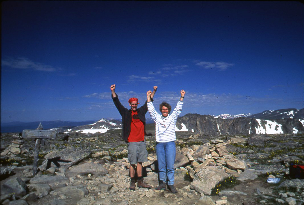 Val and son Chris on Flattop summit