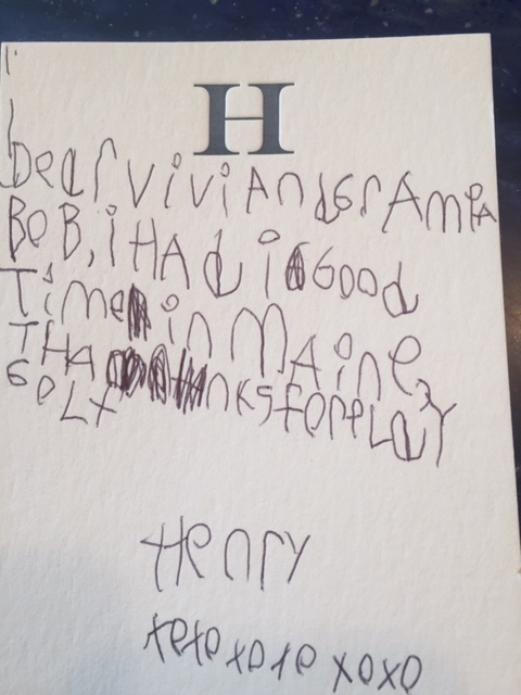 (Five-year-old Henry apparently enjoyed his visit to Maine!)