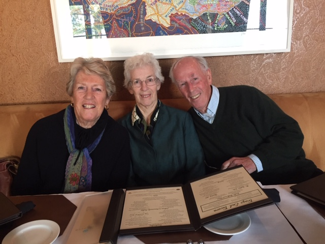 (Sitting down to lunch at the Glenmere Mansion with sister Robin and brother Robert.)