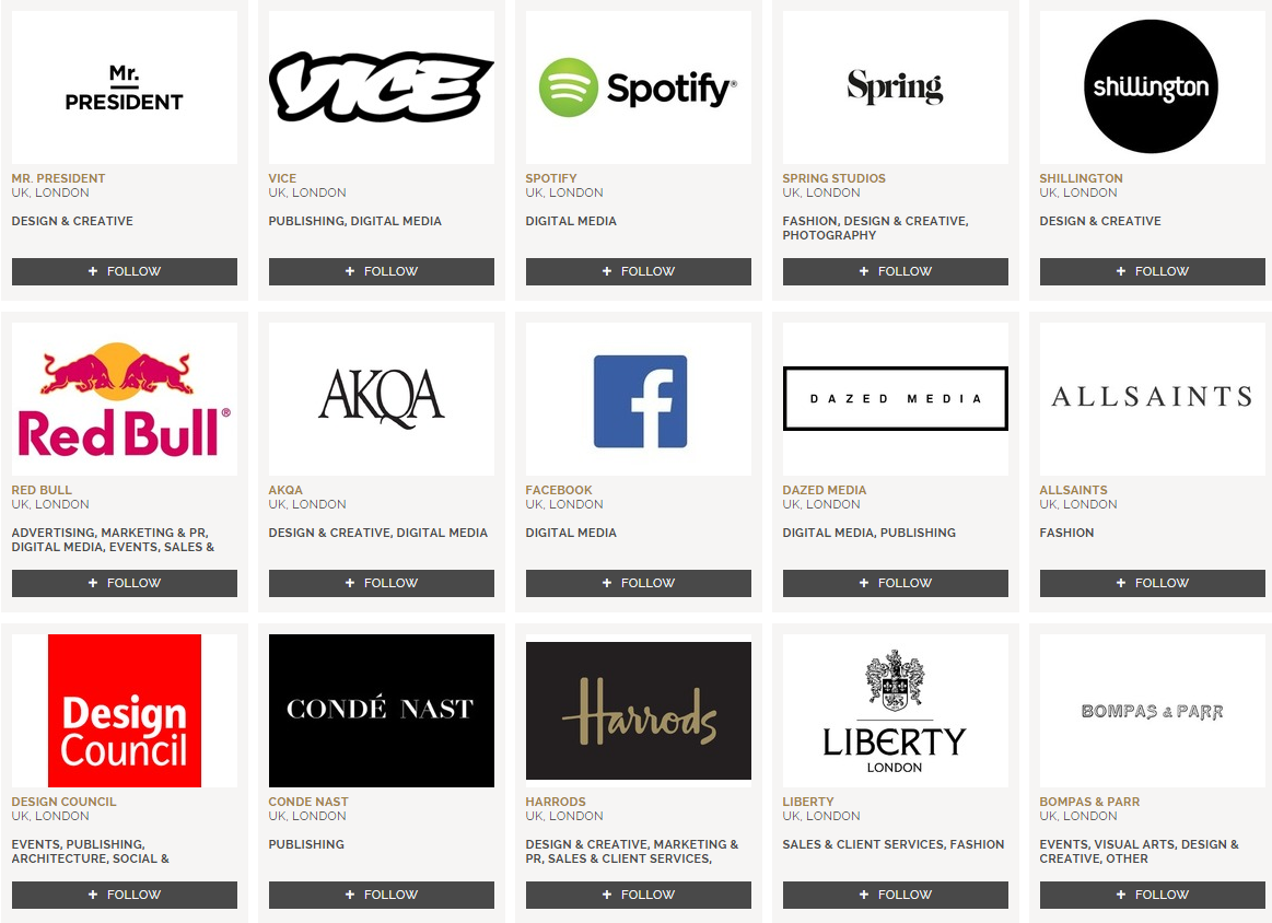 Selection of Companies on The Dots