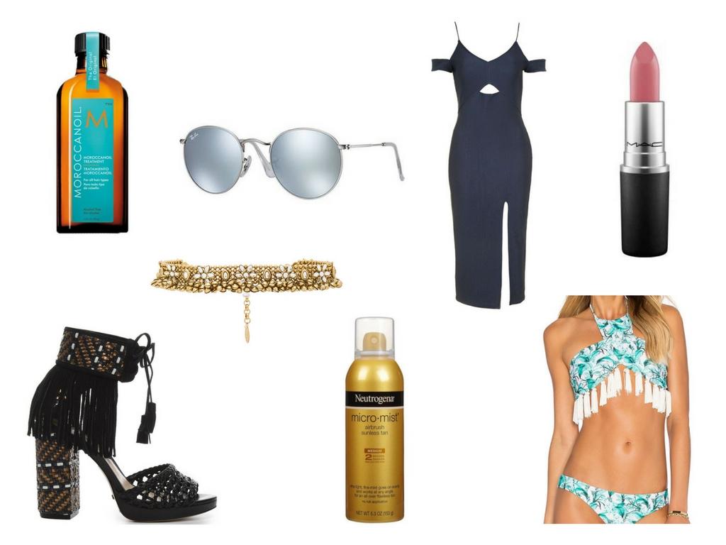"Original Moroccanoil | Ray Ban Round Metal Sunnies | Top Shop Cold Shoulder Midi Dress | MAC 'Mehr"" Lipstick | Child of Wild Choker | Schutz 'Emannuelli' Heels | Neutrogena Micro-Mist Self Tanner | A Bikini A Day x Beach Riot Swim Suit"