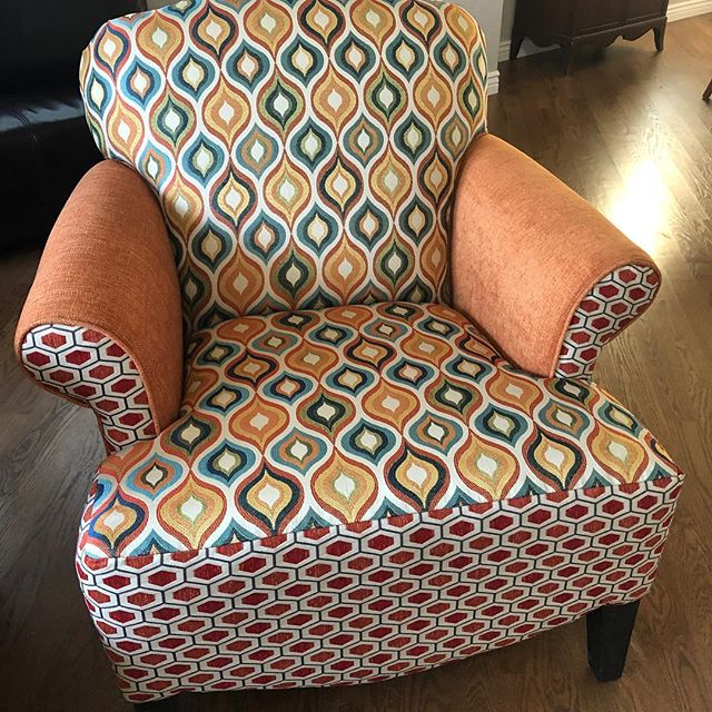 Another cute pair of chairs delivered.  Happy customer makes us happy. #upholstery #interiordesign #cutefabric #chairs #happycustomer