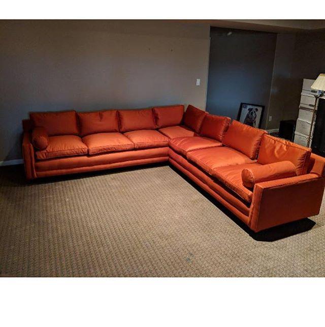 Just finished.  Beautiful orange silky sectional. #interiordesign #sectional #orangefabric #upholstery #readyfortheholidays