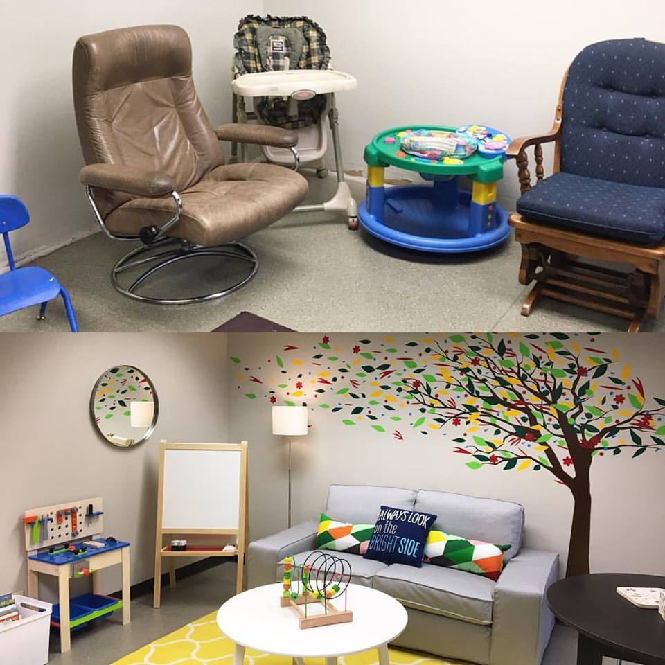 A room in our local DHS office, before & after the makeover!