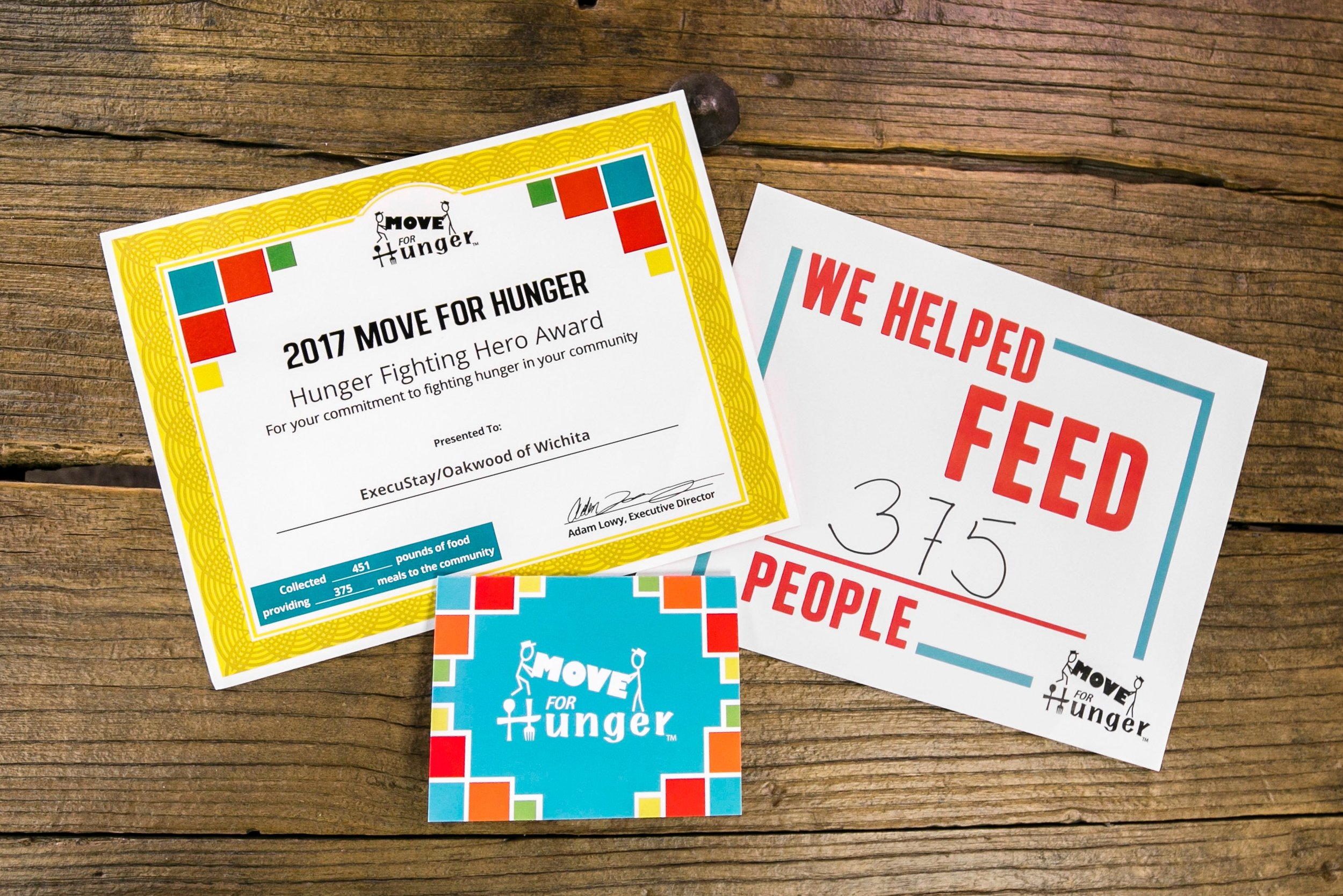 Move for Hunger Hero Certificates