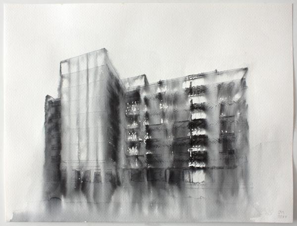 Fantasmagoría I  , 2012, tinta sobre papel, 13 x 32 cm.