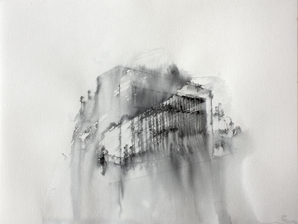 Fantasmagoría VII  , 2012, tinta sobre papel, 13 x 32 cm.