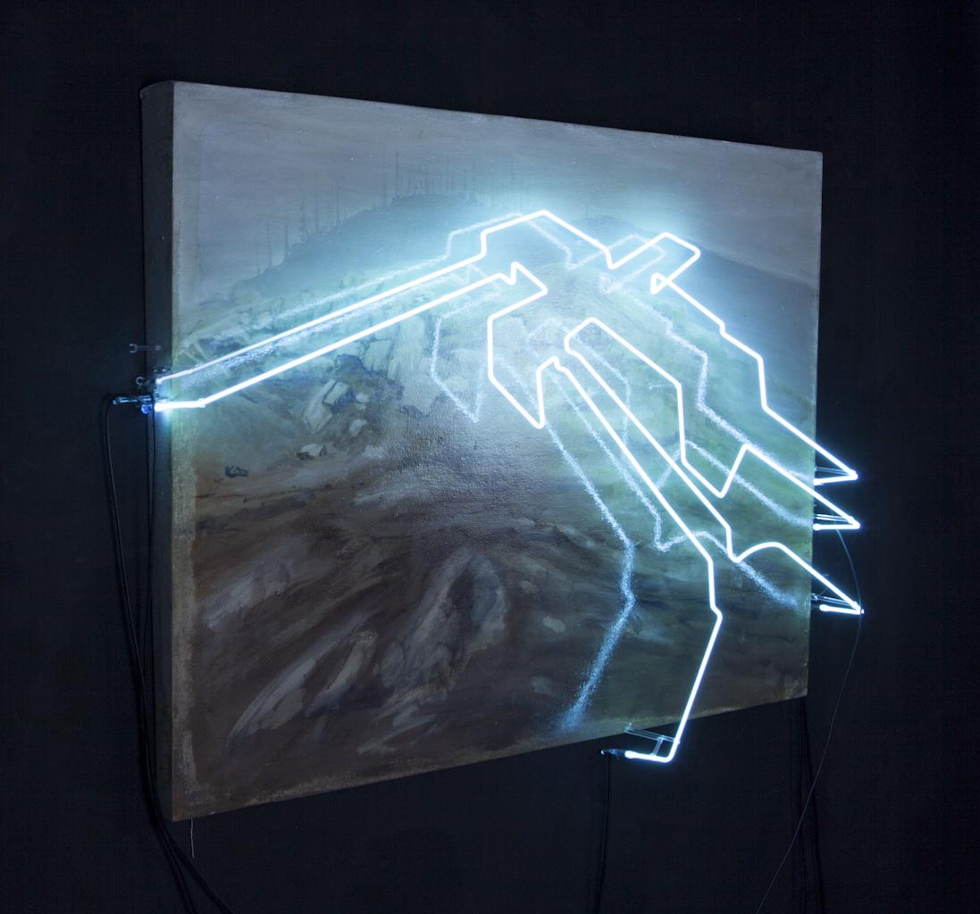 Ser de su tiempo III , 2012, ó leo sobre tela y lámpara de neón,90 x 120 cm.