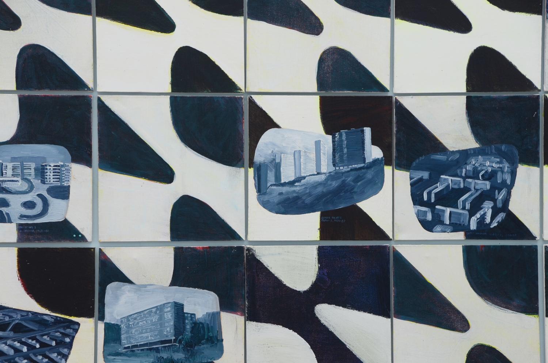 Vivienda social en Latinoamérica   , 2015, acrílico y pintura en aerosol sobre tela,  150 x 360 cm.