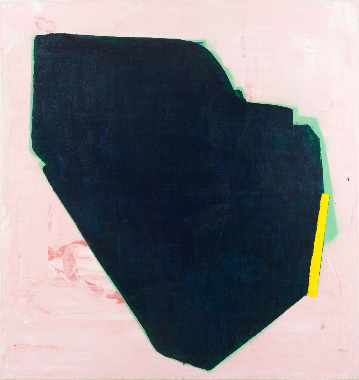 Aforismo 24-A  , 2015, acrílico y pintura en aerosol sobre tela, 80 x 85 cm.