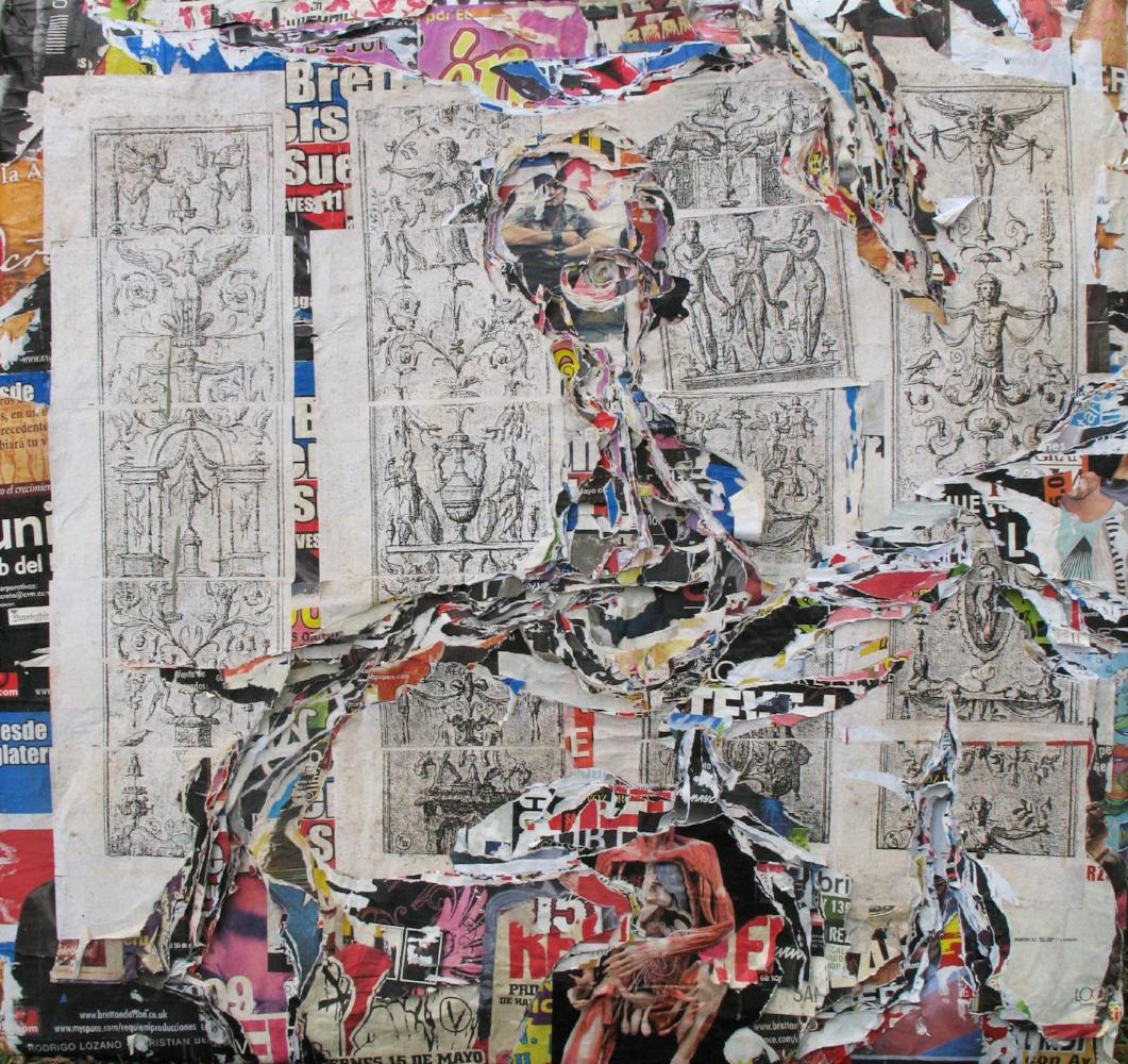 Ruina 6 , 2009, afiches recolectados y fotocopias, 130 x 135 cm.