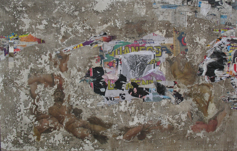 Ruina 4 , 2009, varios materiales sobre tela.